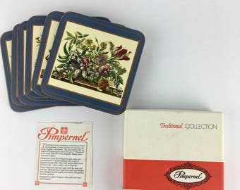 Vintage Pimpernel Floral Coasters Set of 6 in the box Made in England