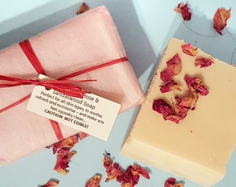 Rose   Sandalwood Goat's Milk Soap - SLS   Palm Oil Free - Cruelty Free skincare - Natural Soap Bar - Cold Pressed Soap - Handmade Soap