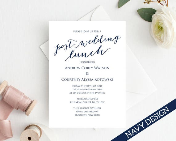 Post Wedding Lunch Invitation Template Diy Printing Custom