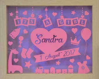 Its a Girl - Personalised Natural Shadow Box Frame - Newborn Gift - Various Colours Available