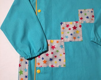 School apron - blue girls apron with pockets and Star
