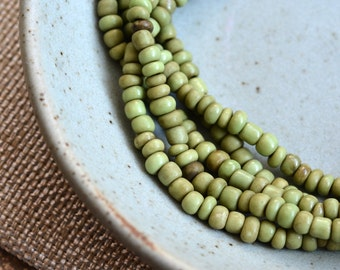 Small Olive Green Seed Beads, Indonesian Lampwork Beads, Rustic Green Glass Beads, Tube Barrel Spacer, Tiny Free form Beads, 44'' Strand, BB