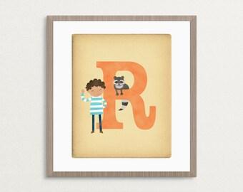 R is for Raccoon - Customizable 8x10 Alphabet Art Print