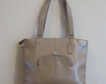 Dads Grads Sale Coach Skinny Tote In Putty  (Tabac ?) Leather- Made In NYC At 'The Factory'- GUC