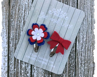 READY TO SHIP, Red Blue White Wool Felt Flower Mini Bow Clip Set, Baby Clips, Infant Girls Adult Mini Snap Clips
