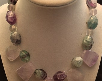 Handmade Amethyst Nugget and Rainbow Fluorite Stone Collar Necklace, Purple Amethyst and Fluorite Necklace