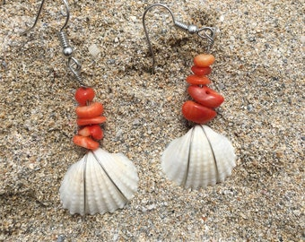 Clamrose shell earrings with coral beads.
