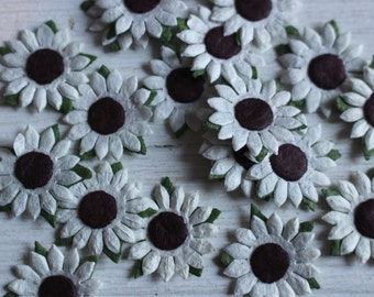 White and green paper craft flowers
