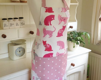 Apron, Pink Cats Apron, Pink Dotty Apron, Adjustable Apron, Full Apron, Ladies' Apron, Womens Apron, Pink Cats, Kitchen, Baking, Gift