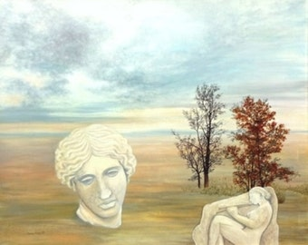 """Original oil painting on canvas """"melancholy"""" 100 x 80 cm large painting contemporary figured realistic allegory"""