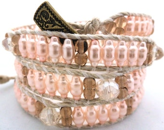 Handmade Four Wrap Hemp Wrap Bracelet with Pink Bumpy Glass Pearls, 4mm Topaz Glass Rounds, & Clear Faceted Rondelles