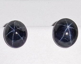 Star Sapphire stud earrings 45cts Natural Deep Blue 6 Star Sapphire gemstones, 14kt white gold Stud Earrings