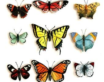 Butterflies Watercolor Print 8 x 8