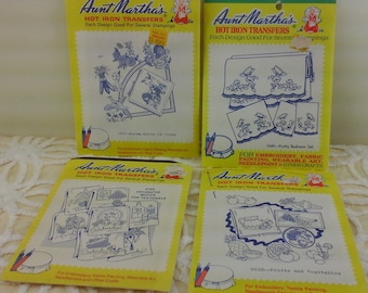 Four, vintage hand embroidery patterns by Aunt Martha.