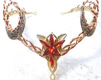 Evenstar Crescent Moon Circlet Red Gold Elven Headdress
