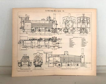 c. 1903  LOCOMOTIVE ANTIQUE LITHOGRAPH - original antique print - travel transportation - train engine rail vehicle