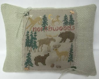 Woodland Cross Stitch Decorative Pillow Lodge Northwoods Moose Bear Deer