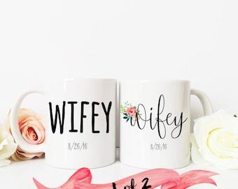 Wifey & Wifey Wedding Coffee Mug / Newlywed Gift Wedding Groom Husband Gay LGBT with date Custom 11 oz or 15 oz Ceramic Dishwasher Safe