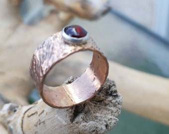 Copper women ring ,Hippie copper ring, Rustic copper ring, Copper ring women,Stone copper ring, Birthday stone ring,Texture copper ring,