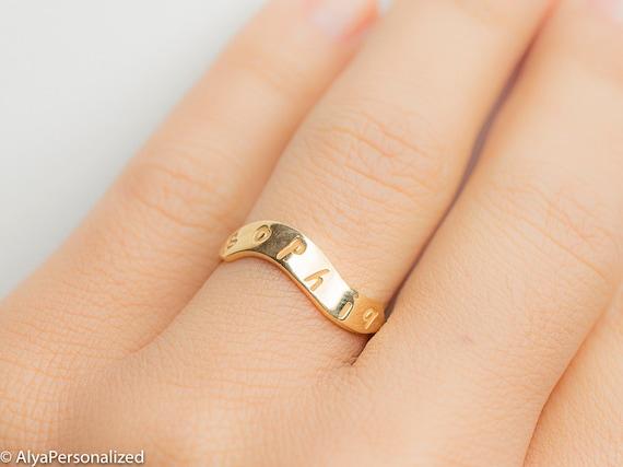 Gold Name Ring Signet Ring Women Hand Stamped Ring