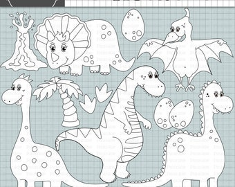 Dinosaur Digital Stamps, Dino Digi Stamp, Kid's Card Making Embellishment, Instant Download, Commercial Use, Digital Images, Di