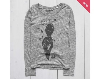Woman Graphic Tee Long Sleeve Printed sweatshirt Organic Cotton Slub Heather Grey - Zero
