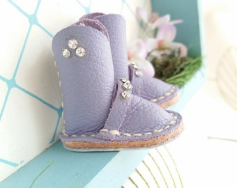 Mini Lilac Rhinestone Leather Riding Boots Neo Blythe Azone Pureneemo M S Size Hand Made By MizuSGarden