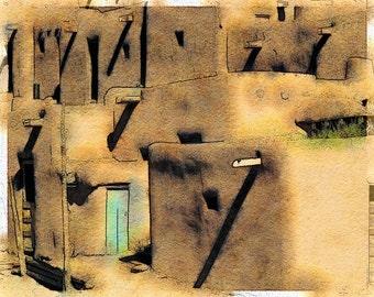 Pueblo Door, New Mexico: Photo Watercolor Art Print of the Famous Pueblo Outside of Taos, New Mexico