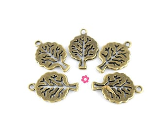 Charms tree of life pendant 10 x bronze 21x14mm (76)
