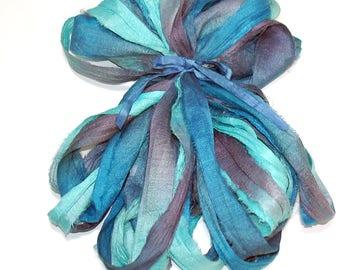 10YD. WAVE RUNNER Sari Silk Ribbon Bundle//Dyed Silk Sari Ribbon Bundle//Sari Tassels,Sari Wall Decor,Sari Fiber Jewelry,Sari Tapestry