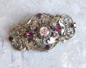 Vintage Large Brass Filigree Brooch with Foiled Cabochon and Pink / Purple Rhinestones - Very Ornate or Embossed Brass - Victorian Style