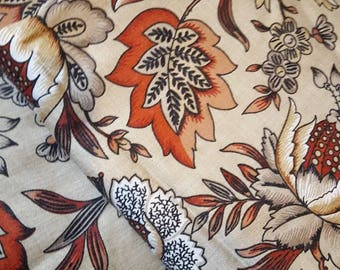 French pair vintage 1940s curtains.  french drapery floral brown rust hand-made