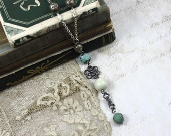Vintage Assemblage Boho Necklace, Long Boho Necklace, Vintage Silver Rosary Necklace, Long Turquoise and Silver Necklace, Vintage Y Necklace