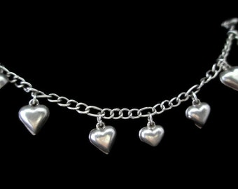 Mid Century Puffed Heart Sterling 925 Charm Bracelet