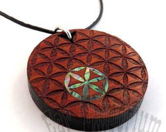 Sacred Geometry Inlay Pendant - Abalone Flower of Life on Bloodwood Necklace