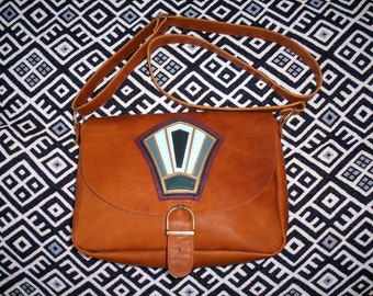 Brown leather with flap bag