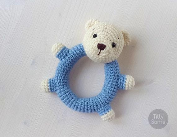 Amigurumi Rattle Free Pattern : Teddy bear rattle pattern crochet rattle toy baby rattle
