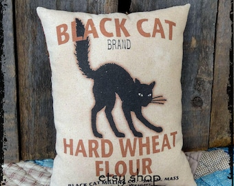 Handmade Primitive Black Cat Flour Halloween Feedsack Style Pillow or Panel #32