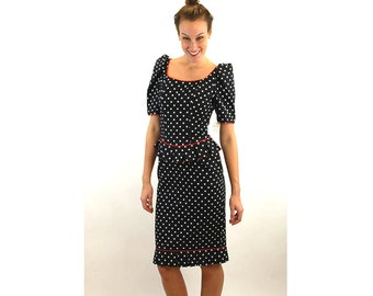1980s dress polka dot black white red peplum dress Antonia Collection cotton NOS tags attached Size 8
