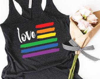 Gay Pride Rainbow Flag Tank Love is Love Tank LGBT Pride Love Wins Gay Marriage LGBT Pride Tank Pride Flag Bisexual Pride Pride Shirt