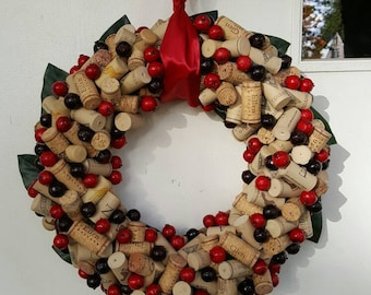 Cranberry Wine Cork Wreath 12-14""