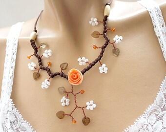 Flower necklace orange and Brown branch