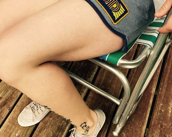 Women's SD Sunny Retro Track Shorts -  Blue with Navy Trim Shorts - South Dakota Vintage Style Shorts by Oh Geez! Design