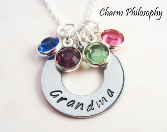Grandmother Necklace - Up to 4 Birthstone Charms - Gift for Grandma - Personalized Grandchildren's Birthstones
