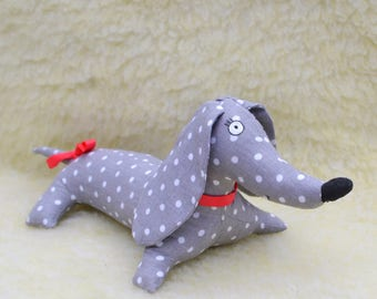 Stuffed dog plush sewing dog soft toy dog stuffed animal puppy plush dog plushie organic dog toy dachshund decor dog plush toy
