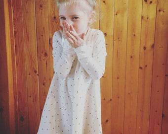 Perfect little dress, mini cross on white off, short or long sleeves
