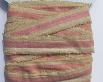5 yards,shabby chic, tea dyed,ribbon,pink white hand torn,vintage, narrow  paris tag, 1394