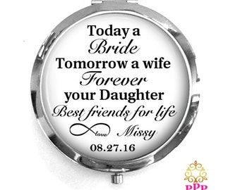 Mother of the Bride Compact Purse Mirror, Mother of the Bride Gift, Personalized Mirror, Purse Mirror Style 643