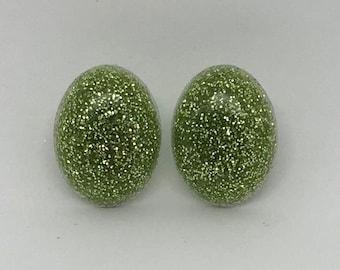 Lime Green Glitter Studs