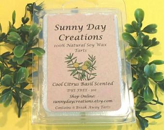 Cool Citrus Basil Scented 100% Natural Soy Wax Break Away Tarts 3 oz